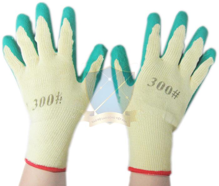 Găng sợi tráng nhựa Đài Loan màu xanh chống trơn, chống hóa chất GTS-VN-02