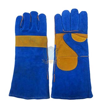 Găng da dài- da lộn mềm chống nóng EU ( 2 lớp, mầu xanh phối mầu vàng ) GTD-VN-06
